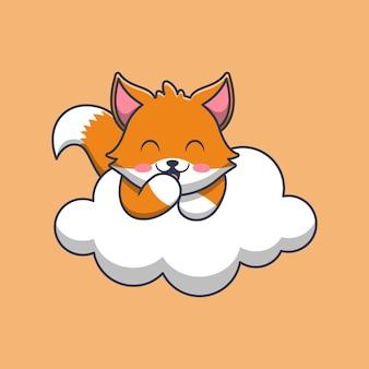 Volpe sveglia sull'illustrazione del fumetto della nuvola