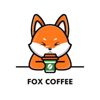 Carino volpe bere tazza di caffè cartone animato animale logo caffè illustrazione