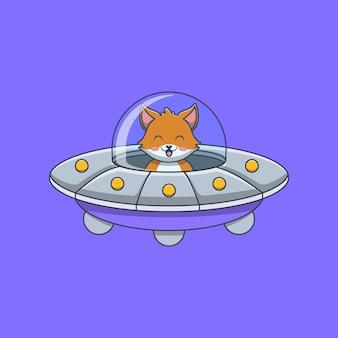 Volpe carina alla guida di un disco volante