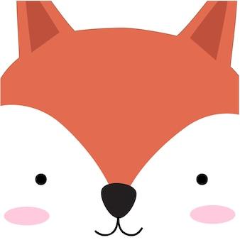 Simpatico cartone animato di volpe faccia Vettore Premium