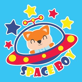 Cute volpe vola ufo come illustrazione di cartone animato del ragazzo di spazio per la progettazione della maglietta del capretto, la scuola materna del capretto e la carta da parati grafica