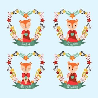 Ragazza carina volpe su cornici dei fiori adatti per set di tag regalo