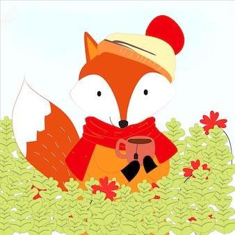 Carino volpe e la sua tazza nel cartone animato foresta