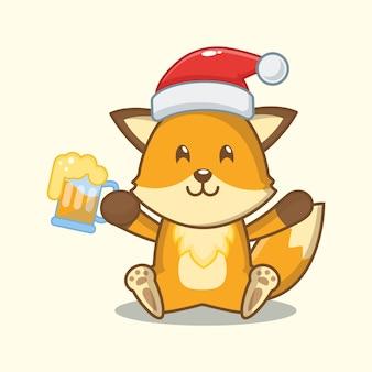 Carino volpe tenendo la birra. illustrazione di natale