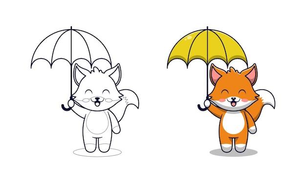 Simpatica volpe che tiene le pagine da colorare dei cartoni animati per bambini