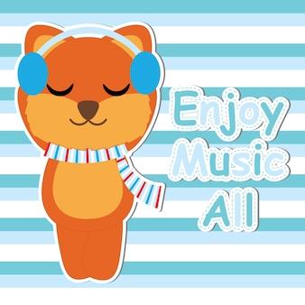 Cute fox ascolta musica su cartone animato a strisce di sfondo vettoriale, cartolina di baby shower, carta da parati e biglietto di auguri, design t-shirt per bambini illustrazione vettoriale