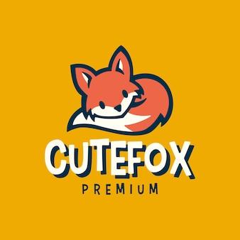 Illustrazione dell'icona di vettore di logo retrò del fumetto del piccolo bambino della volpe sveglia