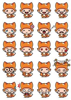 Set design mascotte volpe carino