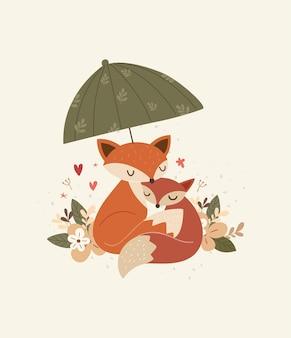 Illustrazione sveglia della volpe del bambino dell'abbraccio della mamma della volpe