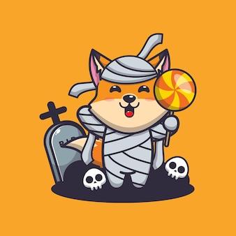 Simpatica mummia volpe che tiene caramelle simpatica illustrazione di cartone animato di halloween