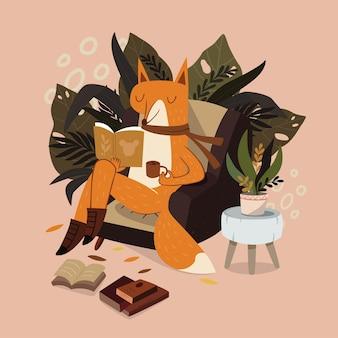Volpe carina che legge un libro con un caffè