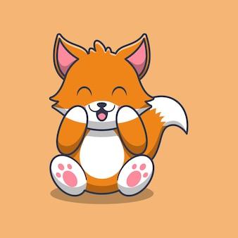 Illustrazione sveglia del fumetto di seduta della volpe