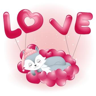 Volpe sveglia che dorme sull'illustrazione di san valentino dei cuori