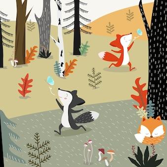 Volpe sveglia nel fumetto della foresta di primavera.