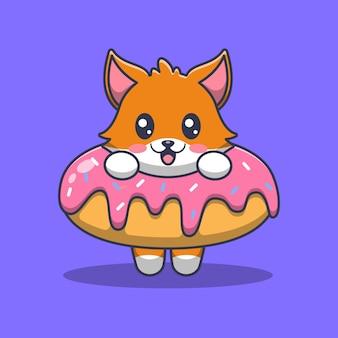 Volpe sveglia in un'illustrazione di cartone animato dolce dessert