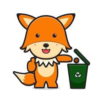 La volpe carina getta la spazzatura nell'icona del fumetto della discarica. disegno isolato su bianco. stile cartone animato piatto.