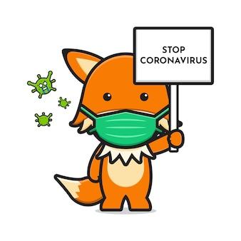 La volpe carina che indossa la maschera ferma l'icona del fumetto del virus corona disegno isolato su bianco. stile cartone animato piatto.