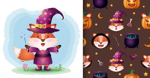 Una simpatica volpe con la collezione di personaggi di halloween in costume. modelli senza cuciture e illustrazioni