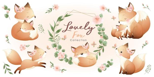 Volpe carina con collezione floreale