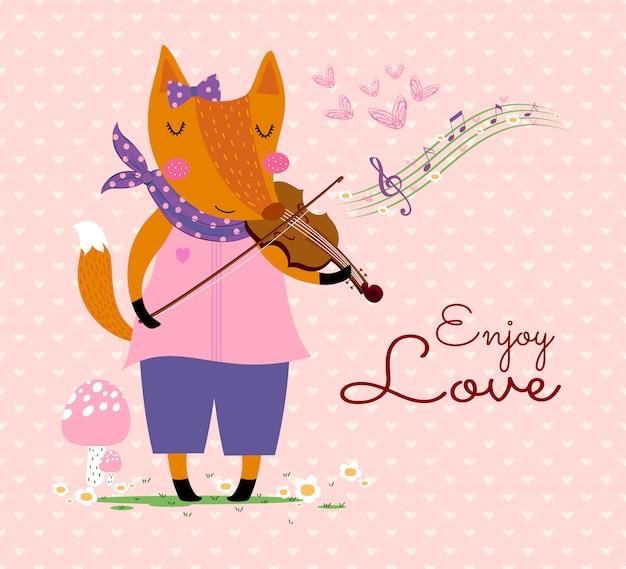 Carino volpe con violino, note musicali, fiori, cuore sul modello cuore, sfondo rosa.