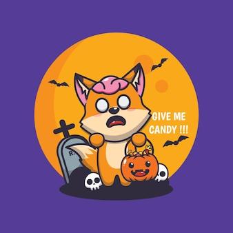 Carino volpe zombie vuole caramelle simpatica illustrazione del fumetto di halloween