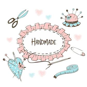 Cornice carina in stile doodle sul tema del cucito e della sartoria.