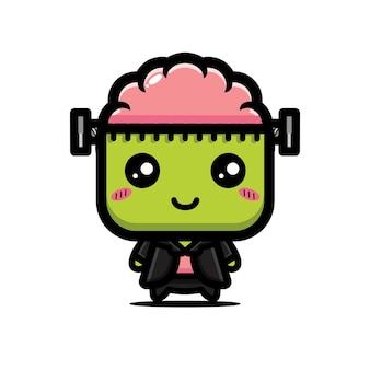 Simpatico personaggio frankenstein con cervello