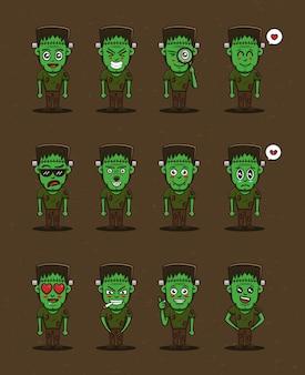 Simpatici personaggi vettoriali di frankenstein impostati in stile cartone animato vettore premium
