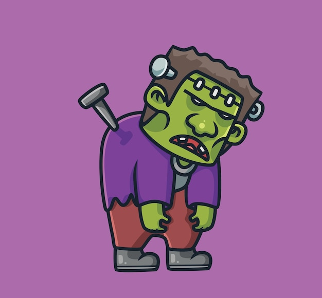 Frankenstein sveglio con il concetto di halloween del fumetto gigante dell'unghia illustrazione isolata stile piano