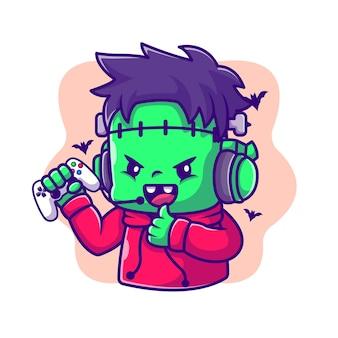 Illustrazione sveglia del fumetto di frankenstein zombie gaming e pollice in alto. concetto dell'icona di gioco di halloween