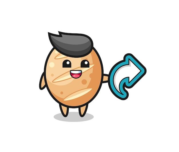 Il simpatico pane francese tiene il simbolo della condivisione sui social media, design carino