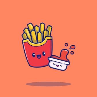 Patate fritte sveglie con l'illustrazione dell'icona del fumetto della salsa. concetto dell'icona dell'alimento isolato. stile cartone animato piatto