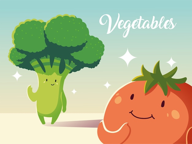 Simpatico cartone animato di verdure fresche di pomodoro e broccoli dettagliato