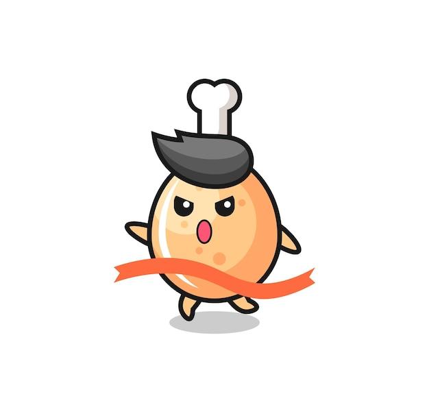 La simpatica illustrazione di pollo fritto sta raggiungendo il traguardo, design in stile carino per maglietta, adesivo, elemento logo
