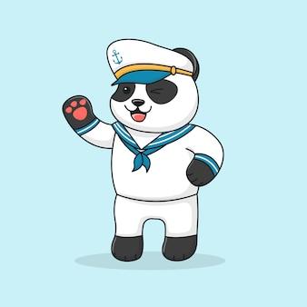 Marinaio di panda amichevole sveglio che porta un cappello