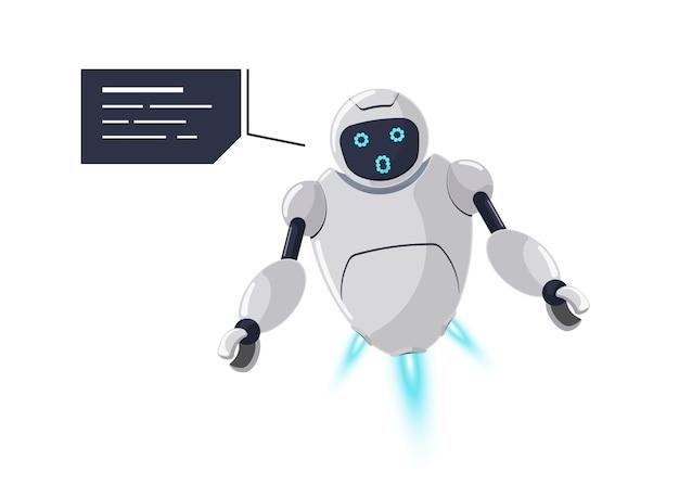 Emozione di sorpresa simpatico personaggio robot amichevole. la futuristica mascotte chatbot bianca sorprende un errore imprevisto con il fumetto. comunicazione online del bot dei cartoni animati di tecnologia. discorso di assistenza robotica ai. vettore