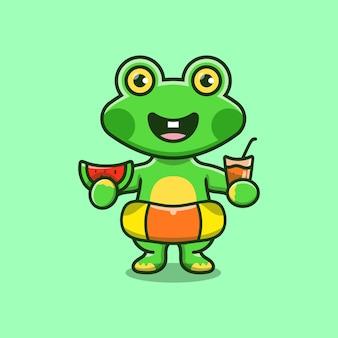 Simpatica rana con cappello da spiaggia con anelli da bagno che trasportano anguria e bevanda