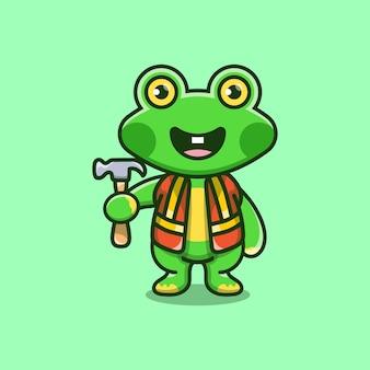 Simpatico costruttore di rane che trasporta un martello