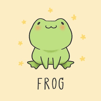 Stile disegnato a mano di cartone animato carino rana
