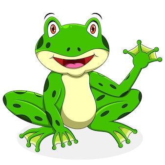 Cartone animato carino rana agitando la mano