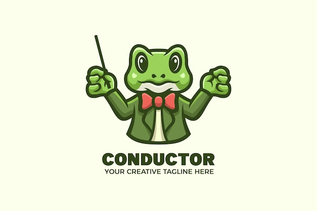 Simpatico modello di logo del personaggio della mascotte dell'orchestra del direttore d'orchestra della rana