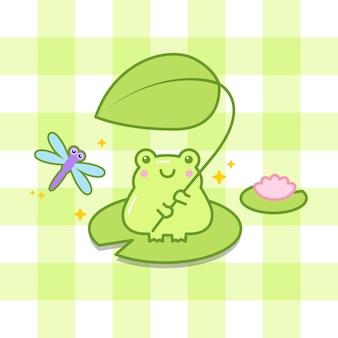 La rana sveglia tiene una foglia con l'illustrazione del fumetto della libellula
