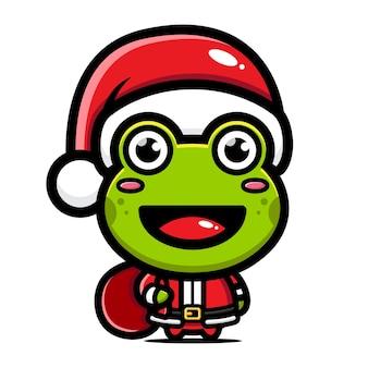 La rana carina sta festeggiando il natale