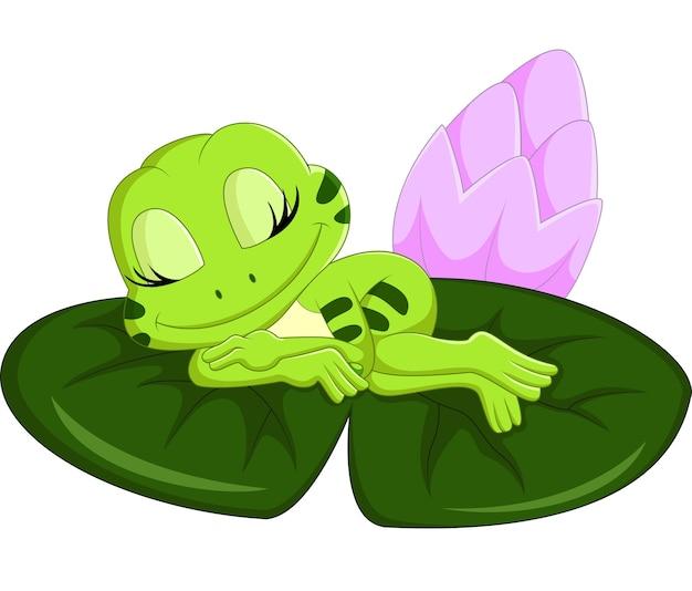 Cartone animato carino rana che dorme