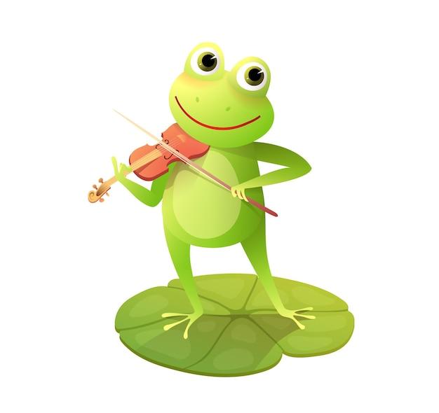 Simpatica rana o rospo che suona il violino sul baccello di ninfea divertente cartone animato animale