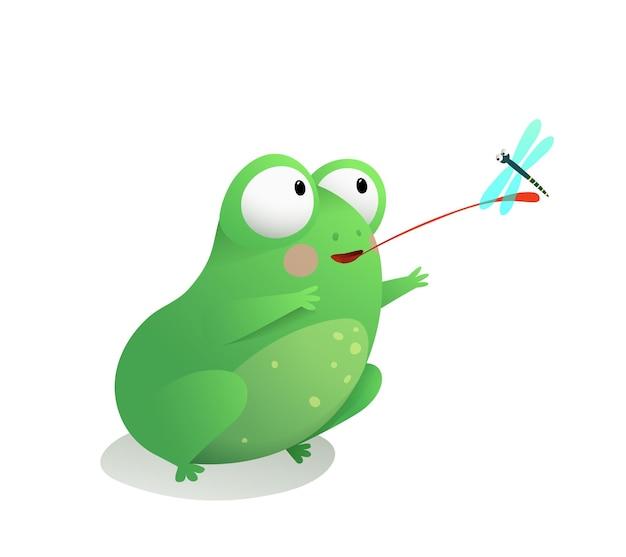 Simpatica rana o rospo seduto che cattura una libellula con la sua lunga lingua divertente adorabile rana per bambini