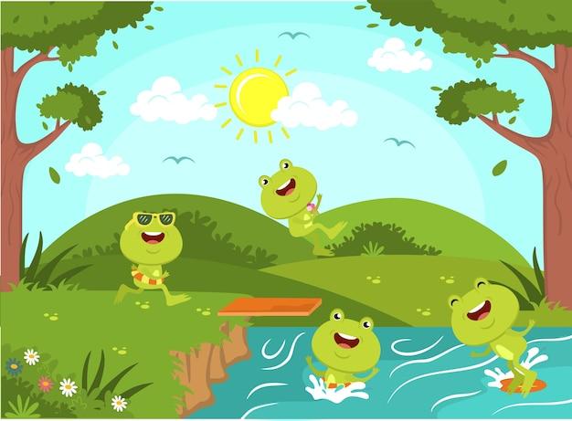 Carino rane che giocano insieme illustrazione