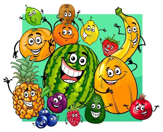 Simpatico cartone animato di gruppo personaggi di frutta