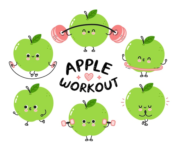 La mela divertente e carina fa la collezione di set da palestra. icona dell'illustrazione del personaggio di kawaii del fumetto di linea piatta di vettore. isolato su sfondo bianco. concetto di pacchetto di personaggi di allenamento alla frutta di mele
