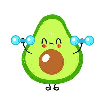Simpatico personaggio di avocado divertente con manubri